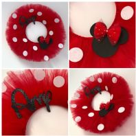 Red Tulle Mini Mouse Personalised Wreath Bedroom Wall Decor Door Name Sign